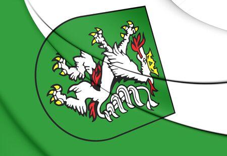 statutory: 3D Flag of Graz (Styria), Austria. Close Up. Stock Photo