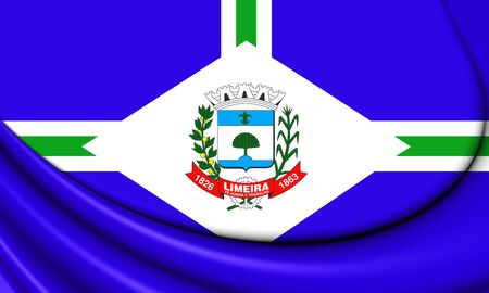 city coat of arms: 3D Flag of Limeira City (Sao Paulo State), Brazil. Stock Photo