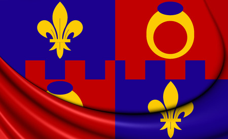 county: 3D Flag of Montgomery County, Maryland. Close Up.