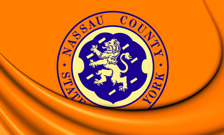 county: 3D Flag of Nassau County, New York.