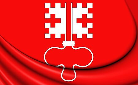 canton: 3D Flag of Nidwalden Canton, Switzerland. Close Up.