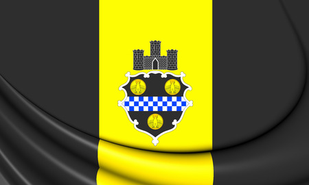 allegheny: 3D Flag of Pittsburgh (Pennsylvania), USA. Close Up.