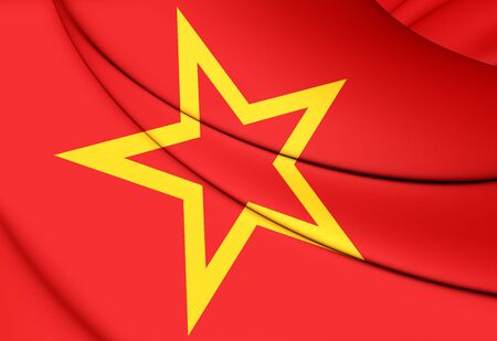 communistic: 3D Red Army Flag. Close Up.