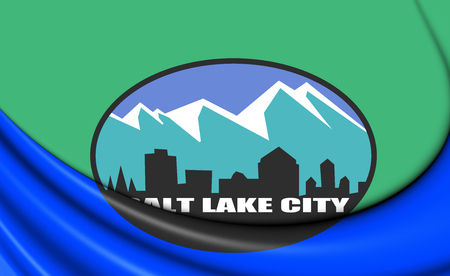 salt lake city: 3D Flag of Salt Lake City (Utah), USA. Close Up.