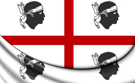 sardinia: 3D Flag of Sardinia, Italy. Close Up.