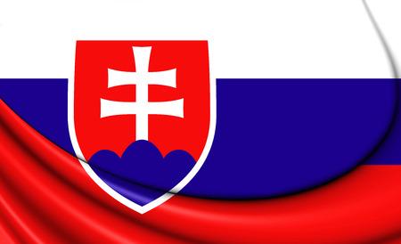 slovakian: 3D Flag of the Slovakia. Close Up.
