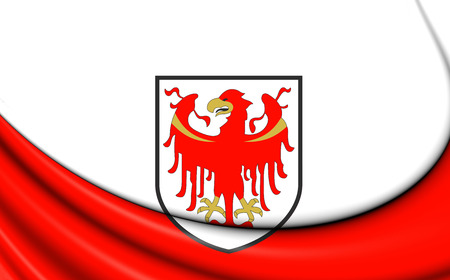 tyrol: 3D Flag of South Tyrol, Italy. Close Up. Stock Photo