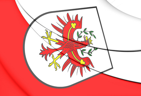 tirol: 3D Flag of Tyrol, Austria. Close Up. Stock Photo