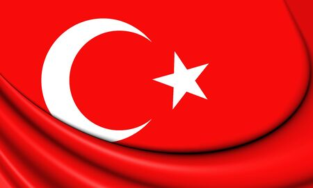 3d flag: 3D Flag of the Turkey. Close Up. Stock Photo