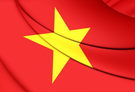 3d flag: 3D Flag of the Vietnam. Close Up. Stock Photo