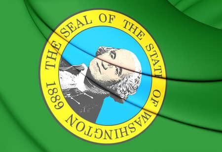 washington state: 3D Flag of Washington State, USA. Close Up.