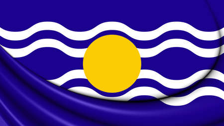 windward: 3D Flag of West Indies Federation (1958-1962). Close Up.