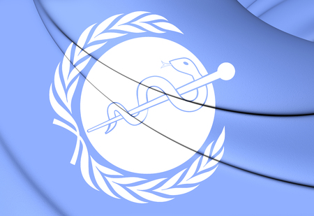 3D Flag of WHO. Close Up.