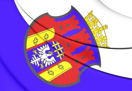 krakow: 3D Flag of Krakow, Poland. Close Up.