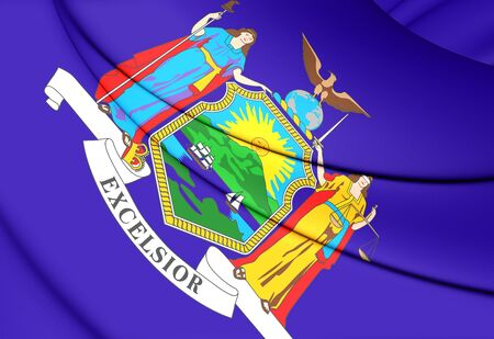 new york state: 3D Flag of New York State, USA. Close Up.