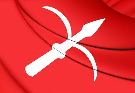 venezia: 3D Flag of Trieste (Friuli-Venezia Giulia), Italy. Stock Photo