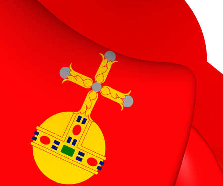 upsala: 3D Flag of Uppsala County, Sweden. Close Up. Stock Photo