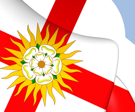 yorkshire: 3D West Riding of Yorkshire Flag, England.