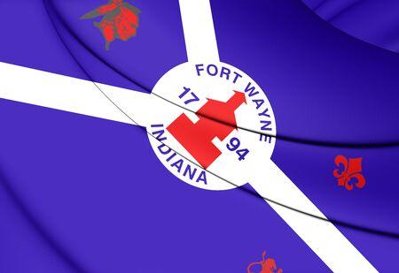 fort: 3D Flag of Fort Wayne (Indiana), USA.