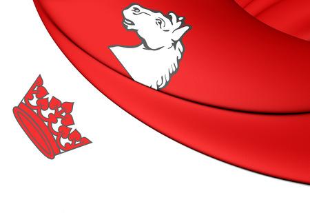 ontario: 3D Flag of Guelph (Ontario), Canada. Close Up.