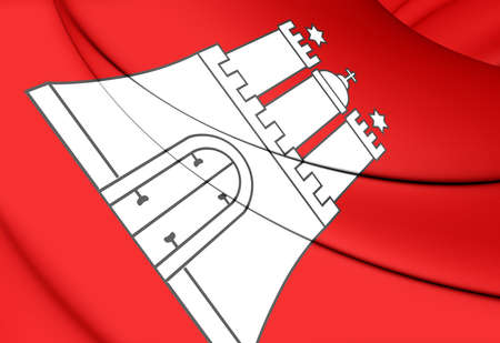 hamburg: 3D Flag of Hamburg, Germany. Close Up.