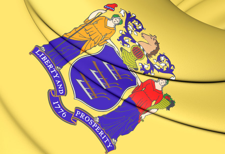 new jersey: 3D Flag of New Jersey, USA. Close Up. Stock Photo
