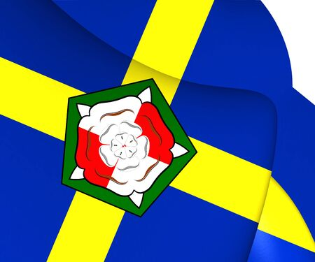 sir: 3D Flag of Pembrokeshire County, Wales. Close Up.