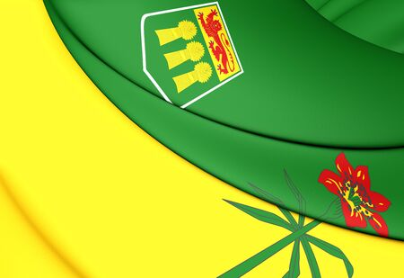 province: 3D Flag of Saskatchewan Province, Canada. Close Up.