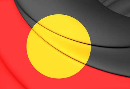 aborigen: Bandera de los aborígenes de Australia. Acercamiento. Foto de archivo
