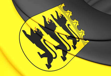3d flag: 3D Flag of Baden-Wurttemberg, Germany. Close Up. Stock Photo