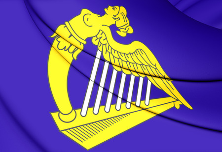 eagle coat of arms: Blue Harp Flag of Ireland. Close Up.