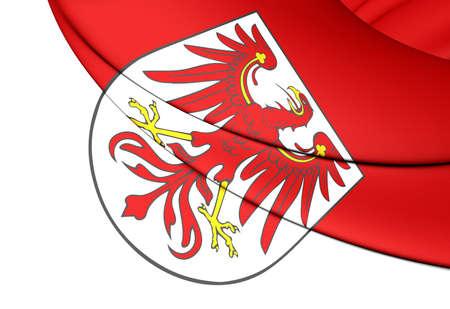 brandenburg: 3D Flag of Brandenburg Land, Germany. Close Up.
