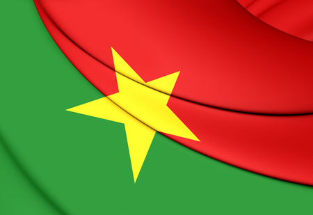 burkina faso: 3D Flag of Burkina Faso. Close Up. Stock Photo