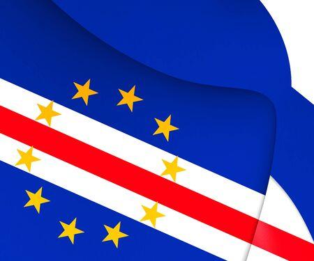 verde: 3D Flag of Cape Verde. Close Up.