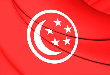 chorąży: 3D Civil Ensign of Singapore. Close Up. Zdjęcie Seryjne