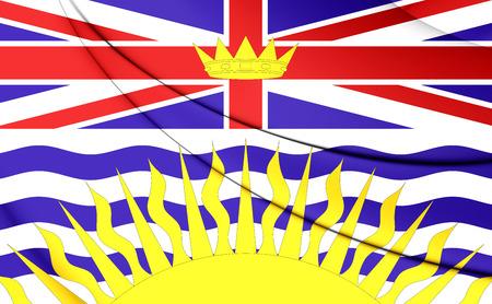 columbia: 3D Flag of British Columbia, Canada. Close Up.