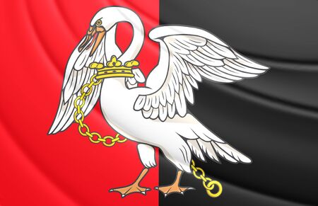buckingham: 3D Flag of Buckinghamshire County, England. Close Up.