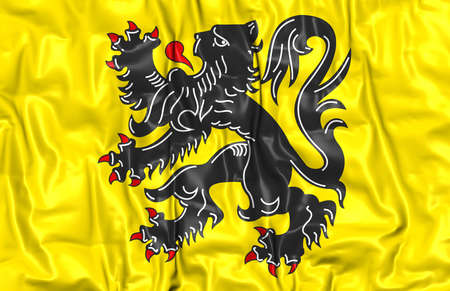 region: 3D Flag of Flanders Region, Belgium. Close Up.