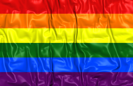 3d rainbow: Gay Pride Flag. Close Up. Stock Photo