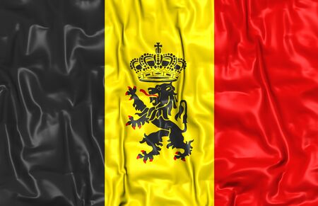 ensign: 3D Government Ensign of Belgium. Close Up. Stock Photo