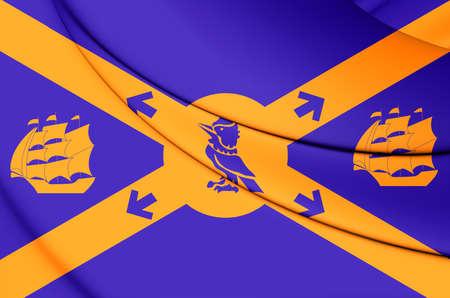 halifax: 3D Flag of Halifax, Canada. Close Up.
