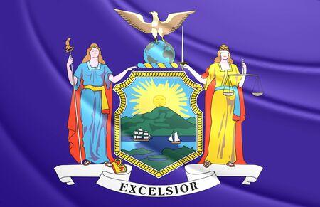 3d flag: 3D Flag of New York State, USA.