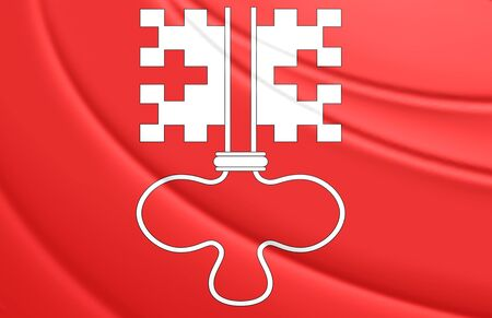 swiss insignia: 3D Flag of Nidwalden, Switzerland. Close Up. Stock Photo