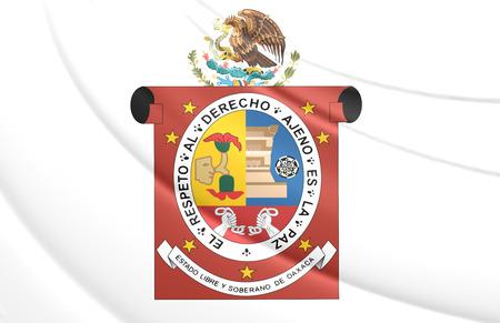 oaxaca: 3D Flag of Oaxaca State, Mexico. Close Up.