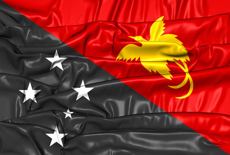 flutter: 3D Flag of Papua New Guinea. Close Up.