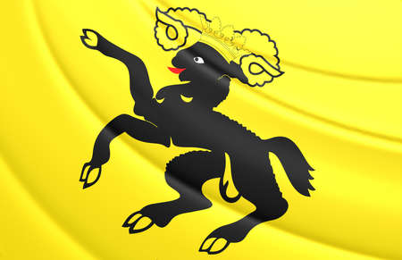 canton: 3D Flag of Schaffhausen Canton, Switzerland. Close Up.