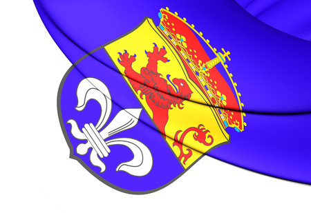 city coat of arms: 3D Flag of Darmstadt (Hesse), Germany. Close Up.