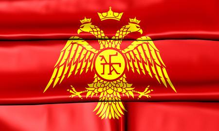 roman empire: Byzantine Eagle, 3D Flag of Palaiologos Dynasty. Stock Photo