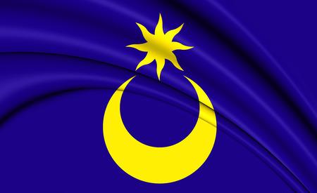 hants: 3D Flag of Portsmouth City (Hampshire), England. Stock Photo