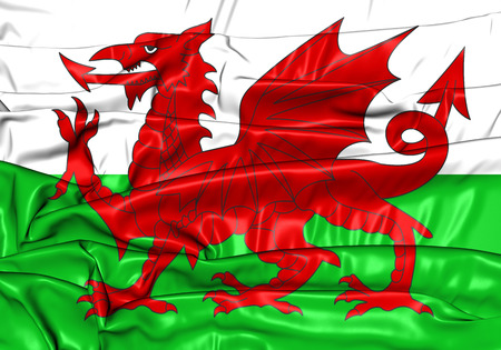 cymru: 3D Flag of the Wales. Close Up.